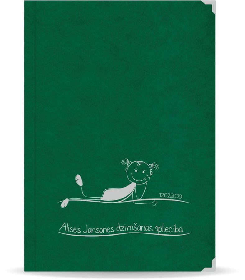"""Dzimšanas apliecība """"Alise"""" ar sudraba ornamentu (tumši zaļa)"""