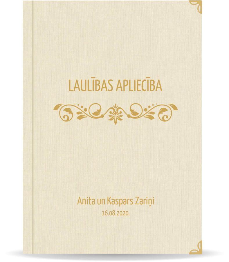 """Laulības apliecība """"Elegance""""  ar zelta ornamentu (dabīgi balta)"""