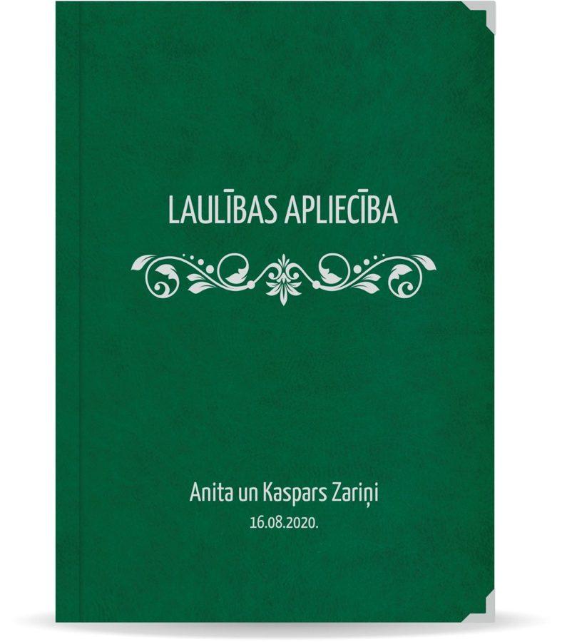 """Laulības apliecība """"Elegance""""  ar sudraba ornamentu (tumši zaļa)"""