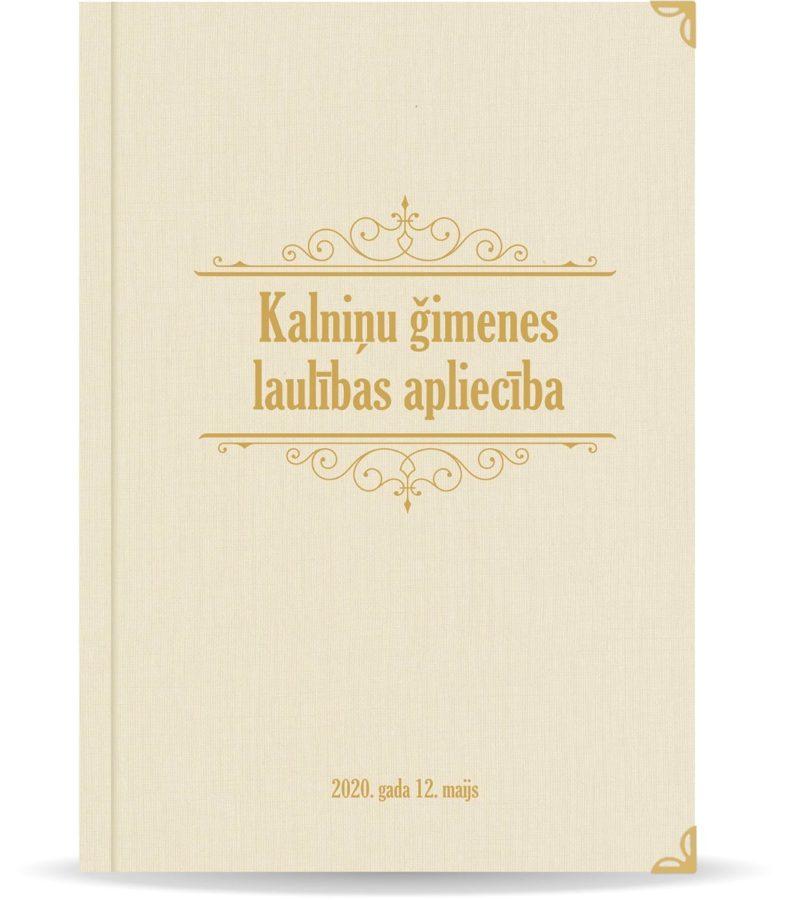 """Laulības apliecība """"Klasika""""  ar zelta ornamentu (dabīgi balta)"""