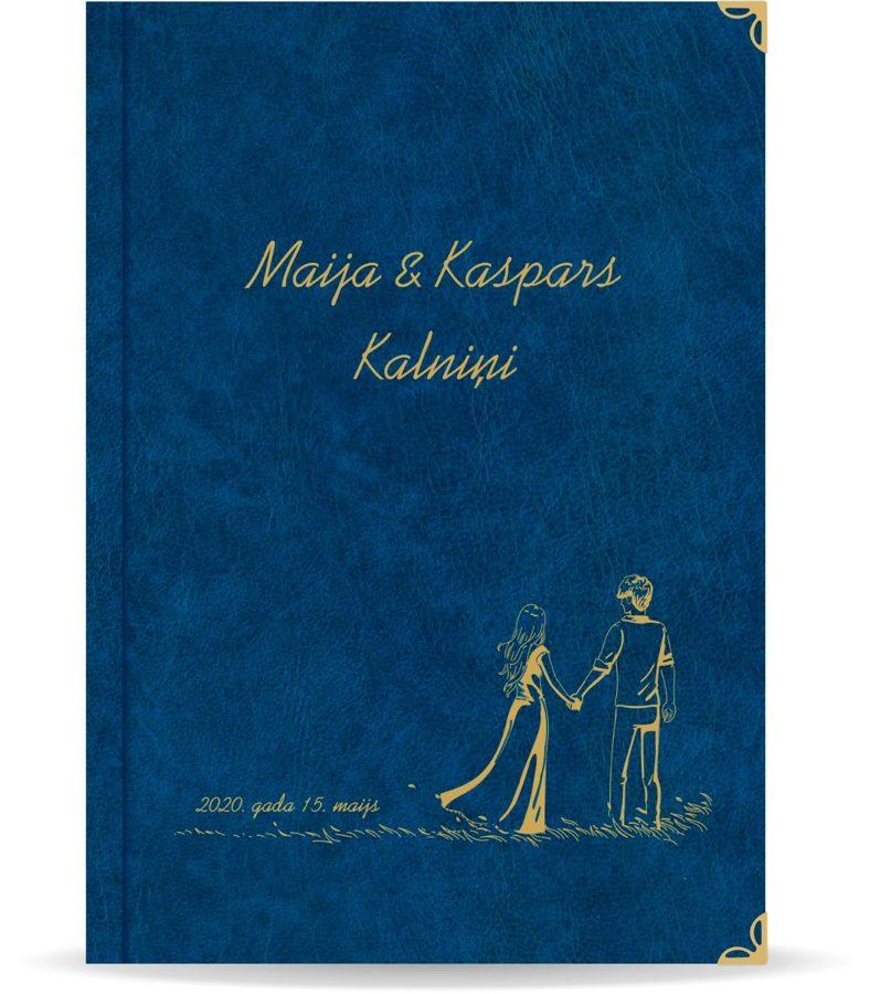 """Laulības apliecība """"Pāris""""  ar zelta ornamentu (tumši zila)"""