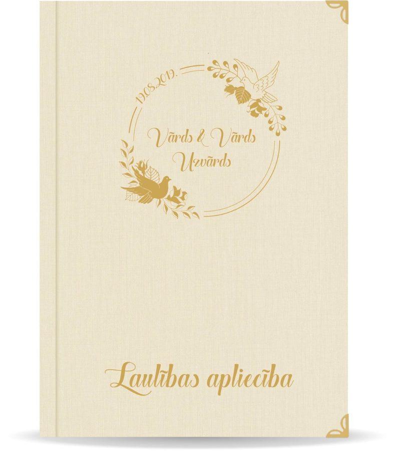 """Laulības apliecība """"Putni""""  ar zelta ornamentu (dabīgi balta)"""