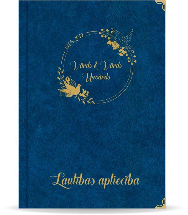"""Laulības apliecība """"Putni""""  ar zelta ornamentu (tumši zila)"""