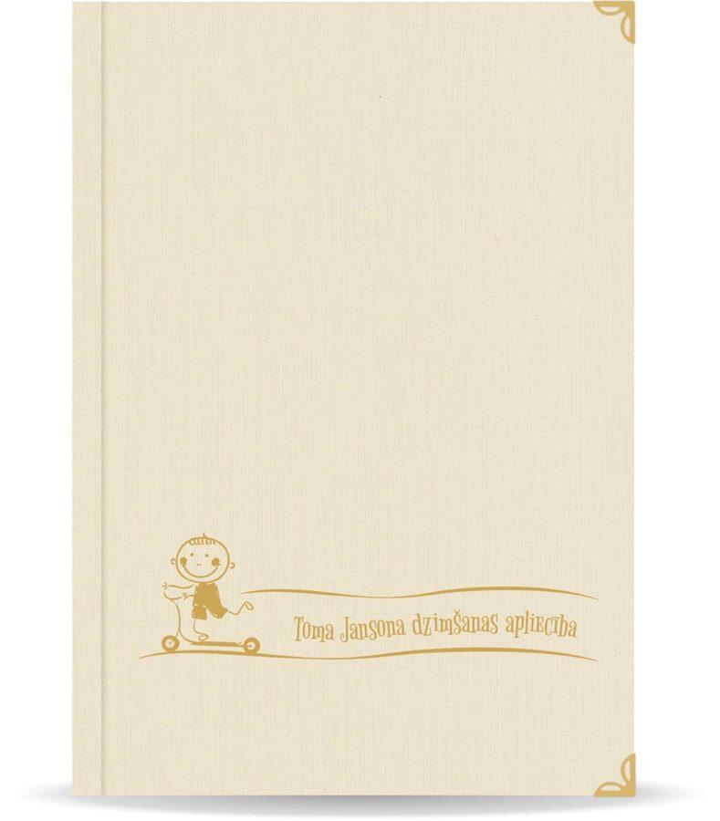 """Dzimšanas apliecība """"Toms"""" ar zelta ornamentu (dabīgi balta)"""
