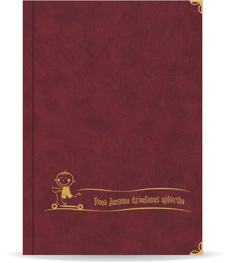 """Dzimšanas apliecība """"Toms"""" ar zelta ornamentu (bordo)"""