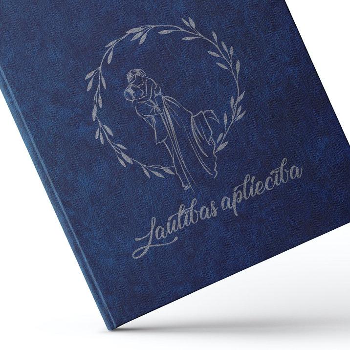 """Laulības apliecības vāki """"Jaunlaulātie"""" ar sudraba ornamentu (tumši zili)"""