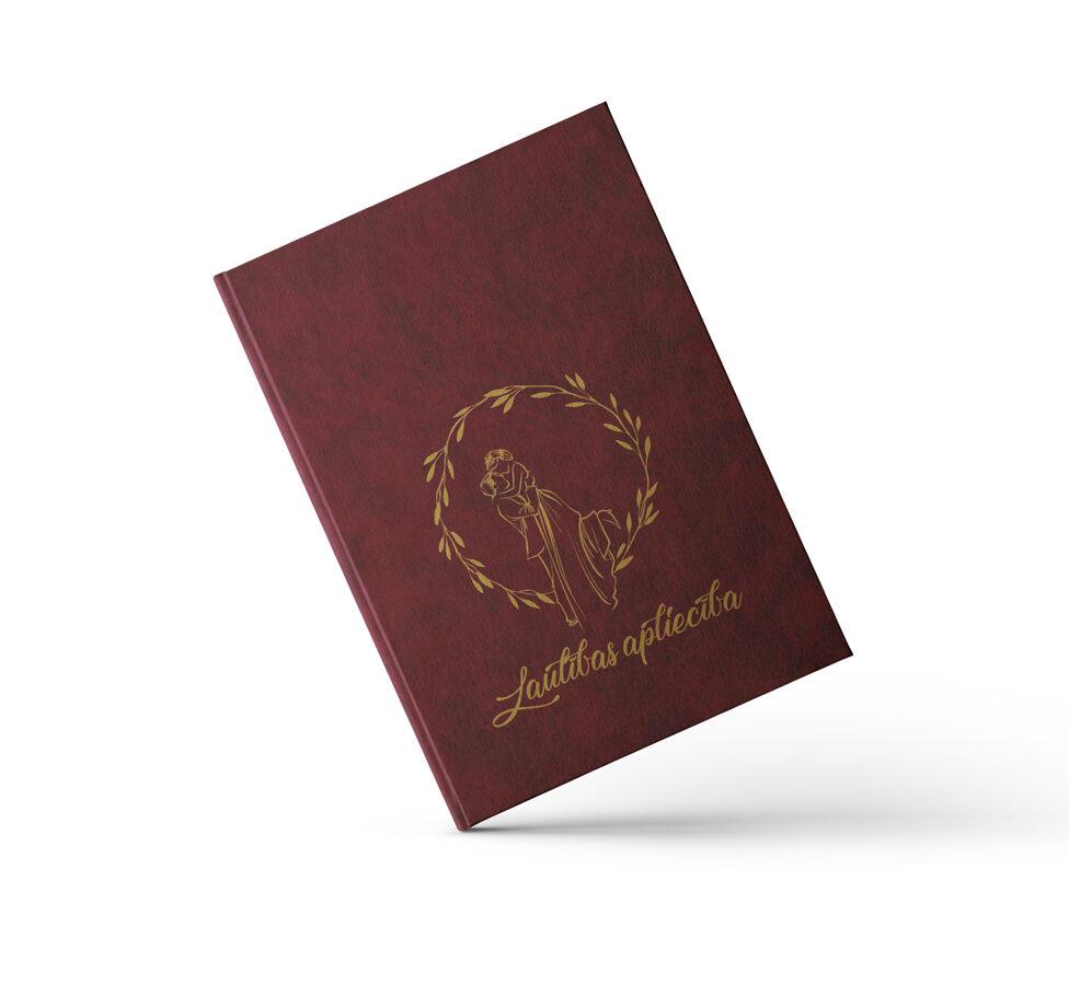 """Laulības apliecības vāki """"Jaunlaulātie"""" ar zelta ornamentu (bordo)"""