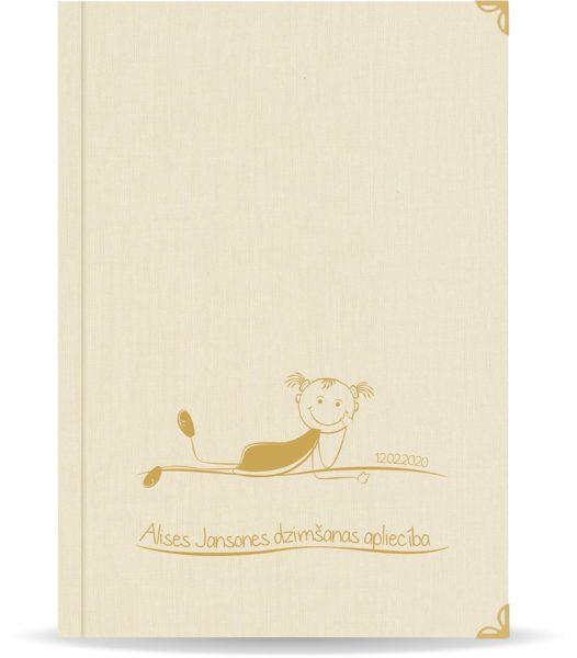 """Dzimšanas apliecība """"Alise"""" ar zelta ornamentu (dabīgi balta)"""