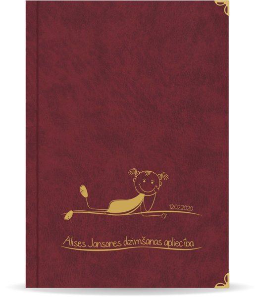 "Dzimšanas apliecība ""Alise"" ar zelta ornamentu (bordo)"