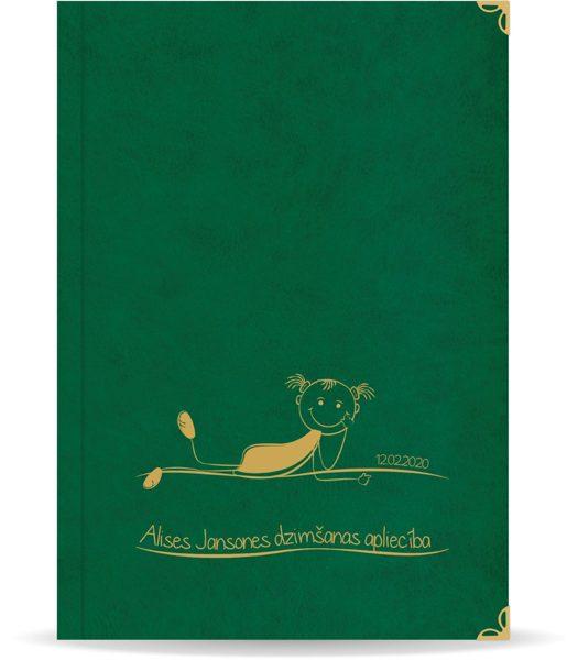 """Dzimšanas apliecība """"Alise"""" ar zelta ornamentu (tumši zaļa)"""