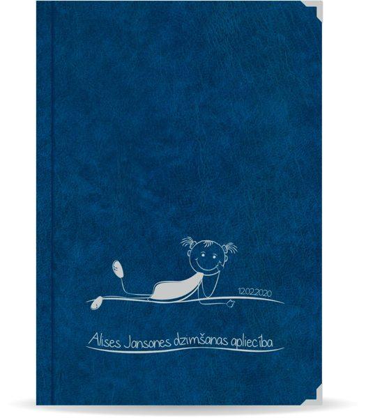 "Dzimšanas apliecība ""Alise"" ar sudraba ornamentu (tumši zila)"