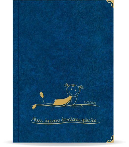 """Dzimšanas apliecība """"Alise"""" ar zelta ornamentu (tumši zila)"""