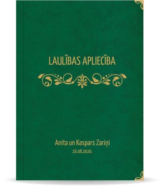 """Laulības apliecība """"Elegance""""  ar zelta ornamentu (tumši zaļa)"""