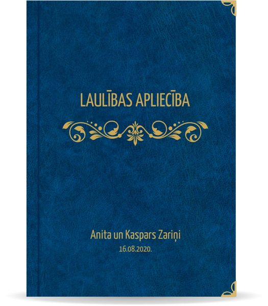 "Laulības apliecība ""Elegance""  ar zelta ornamentu (tumši zila)"