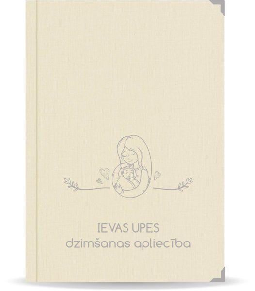 """Dzimšanas apliecība """"Ieva"""" ar sudraba ornamentu (dabīgi balta)"""