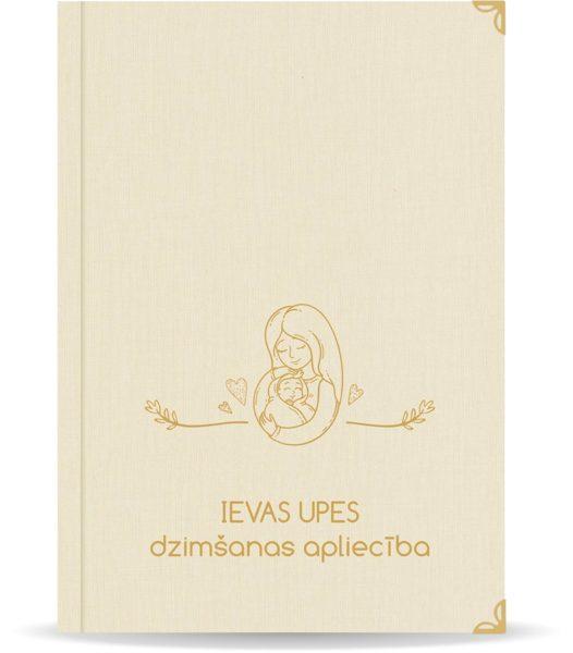 """Dzimšanas apliecība """"Ieva"""" ar zelta ornamentu (dabīgi balta)"""