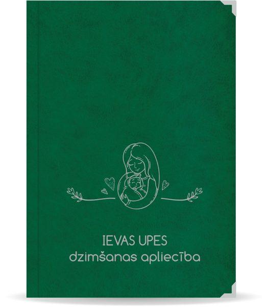 """Dzimšanas apliecība """"Ieva"""" ar sudraba ornamentu (tumši zaļa)"""