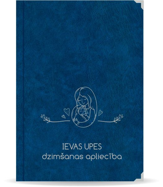 """Dzimšanas apliecība """"Ieva"""" ar sudraba ornamentu (tumši zila)"""