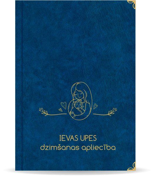 """Dzimšanas apliecība """"Ieva"""" ar zelta ornamentu (tumši zila)"""