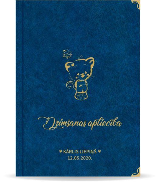 """Dzimšanas apliecība """"Kārlis"""" ar zelta ornamentu (tumši zila)"""