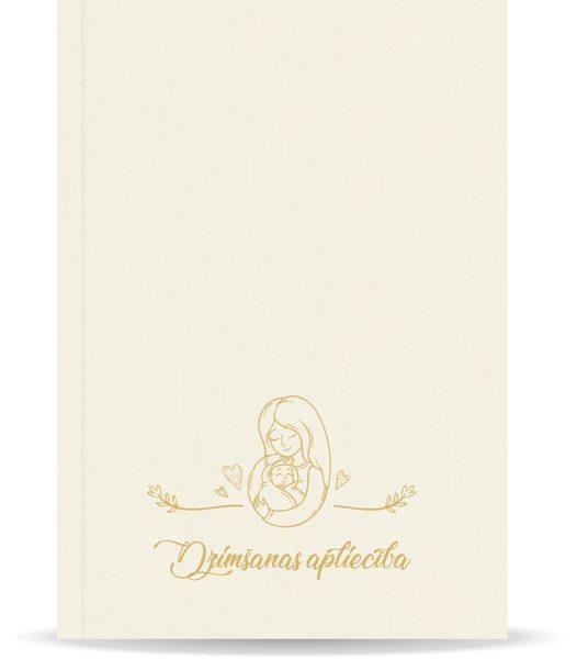 """Dzimšanas apliecības vāki """"Māmiņas azote"""" ar zelta ornamentu (dabīgi balti)"""