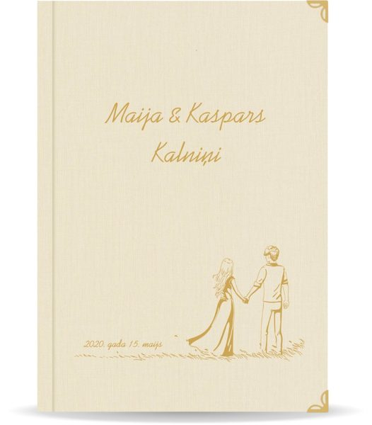 """Laulības apliecība """"Pāris""""  ar zelta ornamentu (dabīgi balta)"""