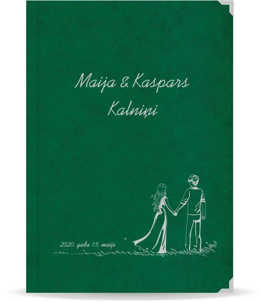 """Laulības apliecība """"Pāris""""  ar sudraba ornamentu (tumši zaļa)"""