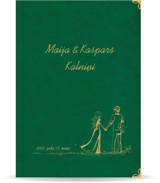 """Laulības apliecība """"Pāris""""  ar zelta ornamentu (tumši zaļa)"""
