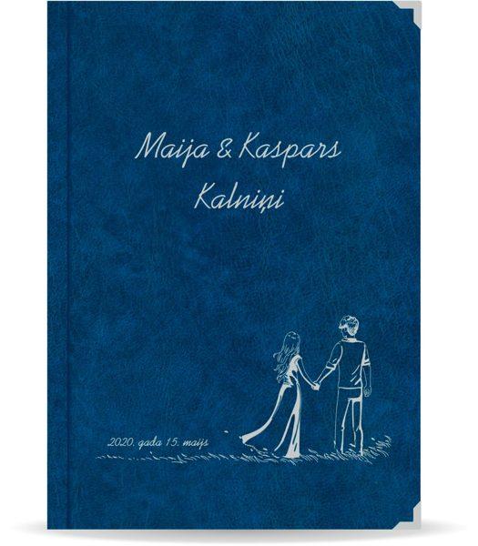"""Laulības apliecība """"Pāris""""  ar sudraba ornamentu (tumši zila)"""