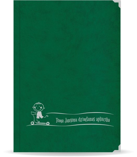 """Dzimšanas apliecība """"Toms"""" ar sudraba ornamentu (tumši zaļa)"""
