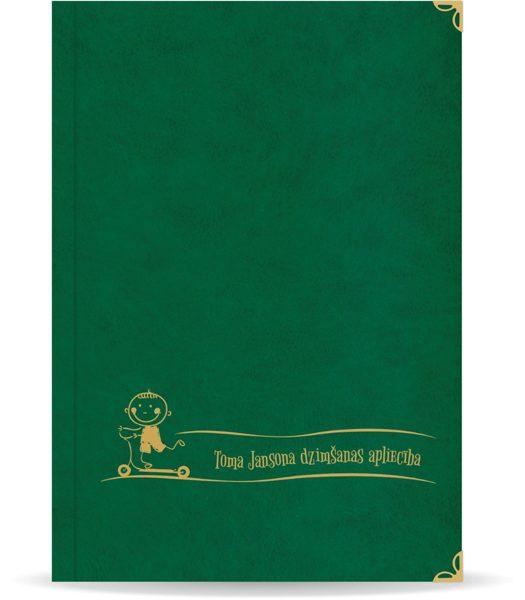 """Dzimšanas apliecība """"Toms"""" ar zelta ornamentu (tumši zaļa)"""