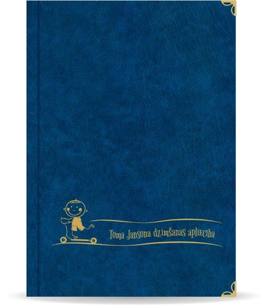 """Dzimšanas apliecība """"Toms"""" ar zelta ornamentu (tumši zila)"""