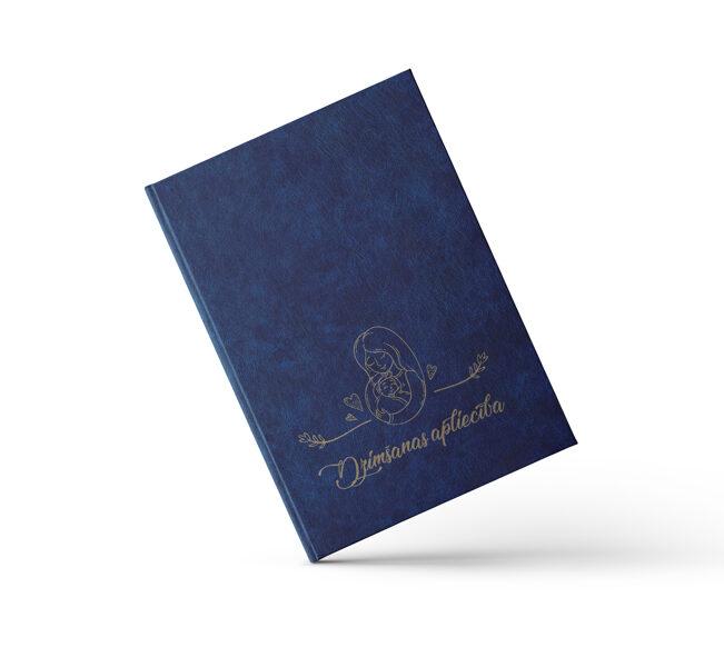 """Dzimšanas apliecības vāki """"Māmiņas azote"""" ar zelta ornamentu (tumši zili)"""