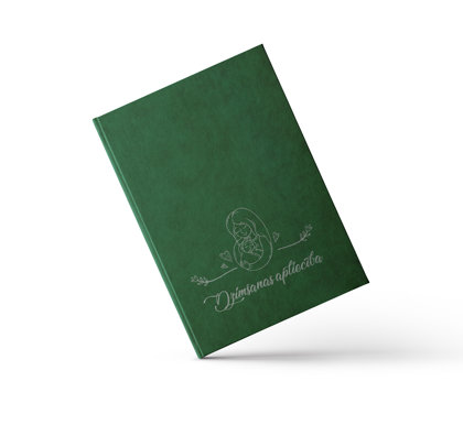 """Dzimšanas apliecības vāki """"Māmiņas azote"""" ar sudraba ornamentu (tumši zaļi)"""