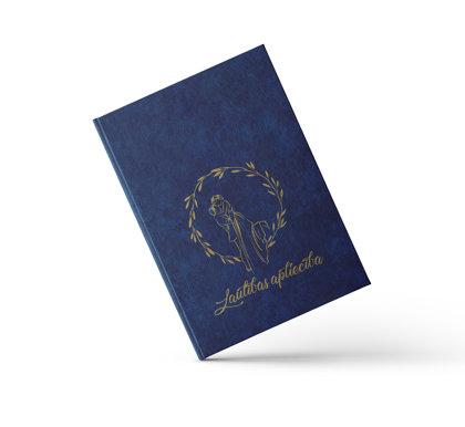 """Laulības apliecības vāki """"Jaunlaulātie"""" ar zelta ornamentu (tumši zili)"""