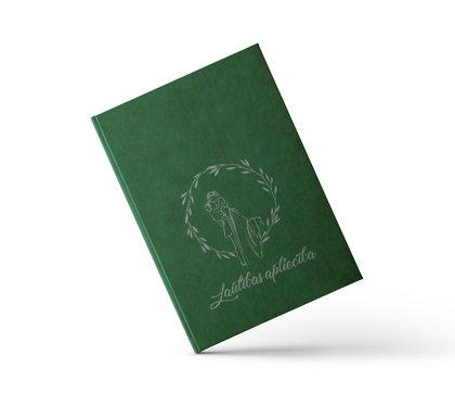 """Laulības apliecības vāki """"Jaunlaulātie"""" ar sudraba ornamentu (tumši zaļi)"""