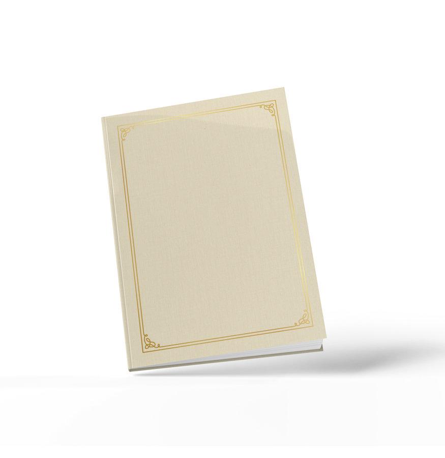 Viesu grāmata ar zelta rāmīti (dabīgi balta) A4